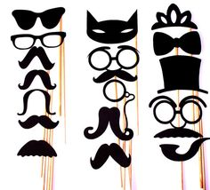 DIY YOU GLUE 17 pc Mustache Moustache Gender Reveal by PartyHQ, $9.00 PhotoBooth!!!