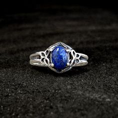 Sterling Lapis Ring: Sterling Silver and Lapis Lazuli - victorian, antique, vintage, butterfly, size 7, Katherine's Ring, Vampire Diaries. $55.00, via Etsy.