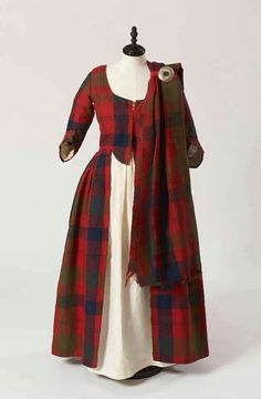 Isabella MacTavish's Wedding Dress c1785. Fraser clan tartan. Inverness Museum.  The cloth itself is probably considerably older than the dress, and possibly dates to 1740 - 1760.  Women -- Clothing & dress -- 1700-1799 -- Scotland. 18th century Scottish costume. Worn continuously by the women of the family for  wedding until 2007