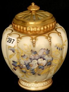 "6 1/2"" ROYAL WORCESTER MOLD #1312 BULBOUS JAR, CREAM TONES WITH WISTERIA DECOR, RETICULATED LID, GOLD TRIM HIGHLIGHTS"