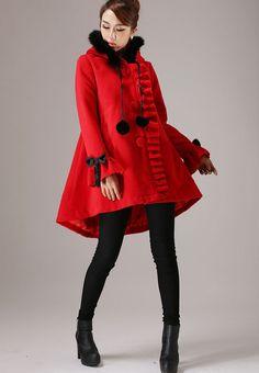 Ruffles Red Hooded Coat - Asymmetrical Hemline Faux Fur Hood & Lantern Sleeves with Bows Short Coat  (756) by xiaolizi on Etsy https://www.etsy.com/listing/52004288/ruffles-red-hooded-coat-asymmetrical