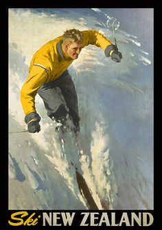Ski New Zealand by Artist Unknown at Image Vault - prints Vintage Style, Vintage Fashion, Nz Art, Vintage Ephemera, Spring 2014, New Zealand, Skiing, Artworks, Arts And Crafts