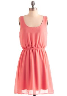 Sake Maki Dress - Mid-length, Pink, Solid, A-line, Tank top (2 thick straps), Summer