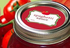 Spaghetti Sauce Canning labels round red stickers by CanningCrafts, $4.00