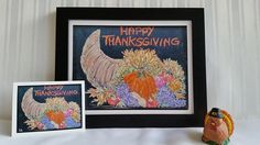 Happy Thanksgiving  Original Chalk Art Drawing  Prints