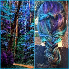 this is amazingggg Vibrant Hair Colors, Cute Hair Colors, Pretty Hair Color, Beautiful Hair Color, Hair Dye Colors, Bright Hair, Colourful Hair, Pelo Multicolor, Galaxy Hair