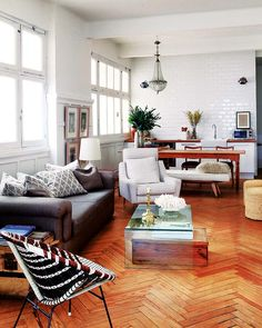 The Madrid home of Juan Luis Medina, creator of the Madrid in Love vintage pop up store. #herringbone floor