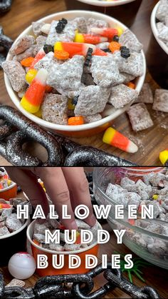 Halloween Muddy Buddies are a delicious treat to share with party guests. The dessert, also called puppy chow, is super easy to make and serves a crowd. The muddy buddy recipe only requires a few ingredients and takes less than 20 minutes to make. Halloween Desserts, Halloween Food For Party, Christmas Desserts, Halloween Treats, Christmas Candy, Candy Recipes, Holiday Recipes, Dessert Recipes, Holiday Meals
