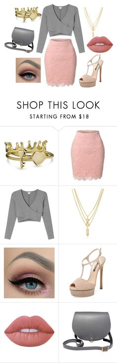 """""""Pink and grey"""" by alicia-brockett ❤ liked on Polyvore featuring Bling Jewelry, LE3NO, Monki, Kenzo, Casadei, Lime Crime and N'Damus"""