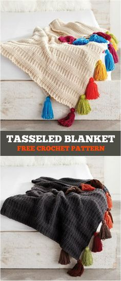 Tasseled Blanket Free Crochet Pattern - Learn to crochet an amazing tasseled blanket in various colors. Download free pattern and start making it right now...
