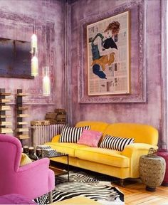 Eclectic yellow and pink apartment. Well done! Go inside and check it out!