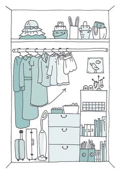 Organize your clothes so they rise to the right. Pin to visualize your beautiful KonMari'ed closet! KonMari Method | Marie Kondo | Life Changing Magic of Tidying Up | Spark Joy