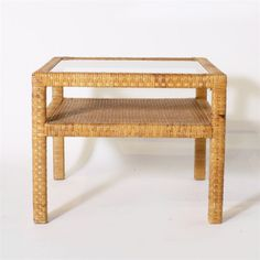 Rattan wrapped side table with shelf in the style of Billy Baldwin, c. 1960