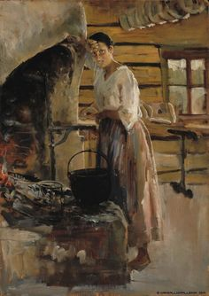 Woman Cooking Whitefish 1886 by Akseli Gallen-Kallela , Finland Nordic Art, Scandinavian Art, Helene Schjerfbeck, Merian, Life Paint, Inspirational Artwork, Kitchen Art, Figure Painting, Great Artists
