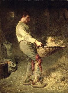 """A Winnower""  Jean-François Millet - Oil  Millet's early works were modelled on eighteenth-century pastorals, but during the 1840s the influence of Daumier encouraged him to paint in a more vigorous and sober style. His Winnower of 1848 set the seal on this new direction. The painting was exhibited at the Salon of 1848."
