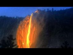 Firefall at Yosemite National Park. The Horsetail Fall phenomenon appears when the angle of the setting sun sets the waterfall ablaze with reds and oranges, like a fire was falling down the cliffs on the shoulder of El Capitan. Best Vacation Destinations, Best Vacations, California National Parks, Yosemite National Park, Beautiful World, Beautiful Places, Simply Beautiful, Amazing Places, Horsetail Falls