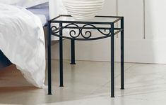 Futuristic Wrought Iron Bedroom Furniture Styles: View Detail Of Elegant Hasena Romantic Rialto Bedside Table Made Of Wrought Iron In Nice M. Iron Coffee Table, Iron Table, Coffee Tables, Wrought Iron Bed Frames, Iron Furniture, Bedroom Furniture, Furniture Styles, Side Table Decor, Metal Art