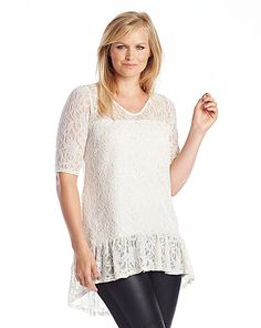 Lace Blouse with Dipped Hem | Marisota