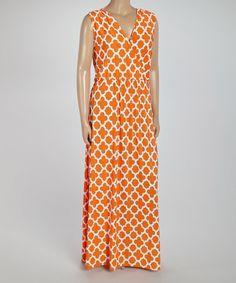 b83c30632d2 Another great find on  zulily! Orange Lattice Surplice Maxi Dress - Plus   zulilyfinds