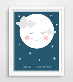 Children's Wall Art / Nursery Decor - I Love You To The Moon And Back by Finny and Zook