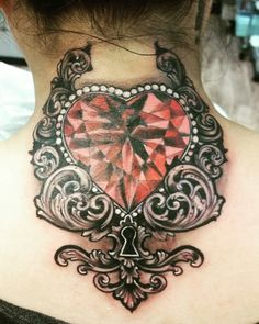 Diamond heart with lock tattoo
