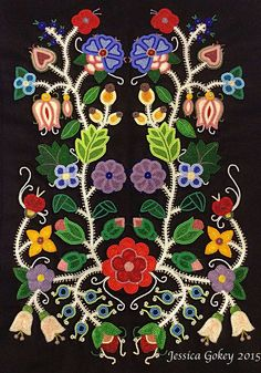 "Jessica Show Pony Gokey (Ojibwe): Celebration of Spring"", Beautiful. Indian Beadwork, Native Beadwork, Native American Beadwork, Native American Art, Beadwork Designs, Native Design, Nativity Crafts, Indigenous Art, Ribbon Work"