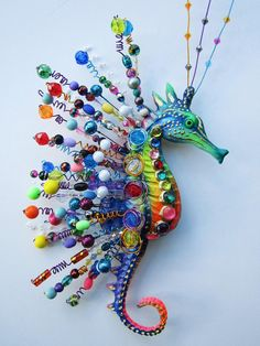 Seahorse wall decor whimsical art colorful sculpture beach