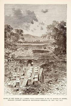 1890 Wood Engraving (Photoxylograph) Roman Bath Villa Bognor England Sussex XHB3
