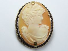 Antique Rolled Gold Shell Cameo Brooch Pin Pendant Stylized Lady V Pretty | eBay
