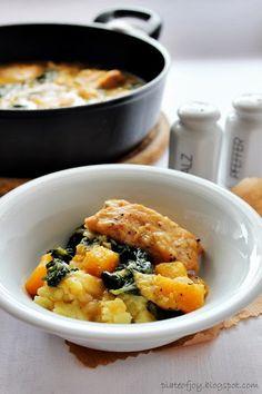 Chicken, pumpkin and kale. Plate of Joy.