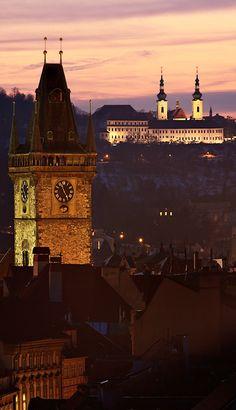Old Town Hall & Strahiov monastery, Prague, Czechia #city #Prague #Tchequie #Czechia #cityscape #Europe #nuit #ville
