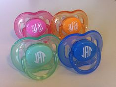 Set+of+2+Monogrammed+Pacifiers+for+Babies+and+by+AbigailLeeHome,+$16.00