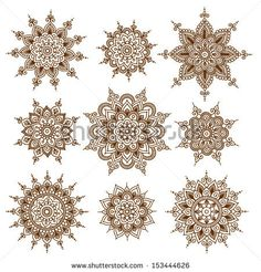 Ornamental flowers. Vector set with abstract floral elements in indian style by…