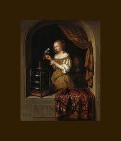 """""""Femme au Perroquet"""", 1666 de Caspar NETSCHER"""