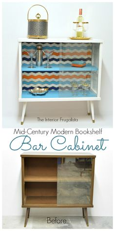 Mid-Century Modern Bookshelf Transformed Into A Funky Bar | The Interior Frugalista: Mid-Century Modern Bookshelf Transformed Into A Funky Bar