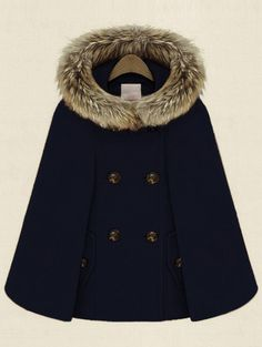 Navy Hooded Double Breasted Pockets Cape Coat  , 40% Off 1st Order