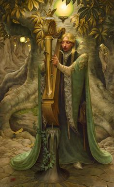 Probably the best image as far as how the Chrysander artists line's appearance and behavior.  Galadriel's Harp ~ Stephen Hickman.