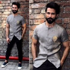 Yay or Nay? Shahid Kapoor in this grey satin shirt with black pants Mens Indian Wear, Indian Groom Wear, Indian Men Fashion, Mens Fashion Suits, India Fashion Men, Trendy Mens Fashion, Wedding Dresses Men Indian, Wedding Dress Men, Boys Kurta Design