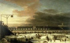 Numerous figures are shown enjoying themselves on the frozen river. While some are skating, others are sliding, snowballing and even shooting. part of the tower of St. Olave's Tooley Street and Southwark Cathedral. frost depicted in this painting is that of December 1676, which began to break on 3 January 1677, This is an exceptionally large genre painting and is likely to have been the result of a commission 1677