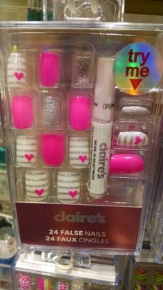 Love design and colors - Nail Design & Colors Claire's Fake Nails, Claire's Nails, Fake Nails For Kids, Nail Art For Girls, Kiss Nails, Glue On Nails, Swag Nails, Cute Nails, Acrylic Nails