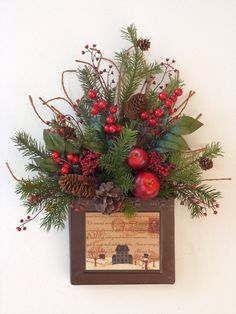 Christmas holiday metal door basket wreath by EnchantedForestByDee, $37.00