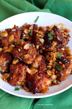 Crispy Kung Pao Cauliflower. Cauliflower battered and baked and tossed in spicy kung pao sauce. | VeganRicha.com