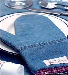 Use old jeans to make an oven mitt