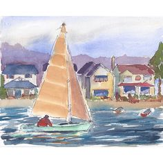 Original Painting, Watercolor and Ink, Seascape Painting, Sailboat,... (£36) ❤ liked on Polyvore featuring home, home decor, wall art, watercolor wall art, water color painting, sailboat painting, seascape wall art and blue home decor