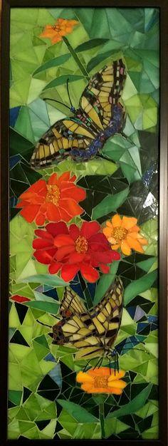 """Mosaic : """"Checking out the Zinneas"""" (Original art by Marie Groves) Paper Mosaic, Mosaic Tile Art, Mosaic Vase, Mosaic Artwork, Mosaic Diy, Mosaic Garden, Mosaic Ideas, Mosaic Tables, Mosaic Mirrors"""