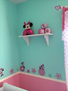 13 best girl minnie mouse nursery images minnie mouse nurseryminnie mouse nursery, reused wall shelves painted white
