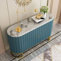 Modern Luxury Blue Sideboard with Marble Top Stainless Steel Frame in Gold Cabinet Buffet Table - Sideboards & Buffets - Dining Room & Kitchen Furniture - Furniture Sideboard Dekor, Dining Room Sideboard, Sideboard Furniture, Kitchen Furniture, Table Furniture, Modern Furniture, Buffet Table For Sale, White Buffet Table, Modern Buffet Table