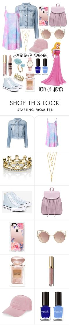 """""""Aurora- Summer"""" by teen-of-disney ❤ liked on Polyvore featuring 3x1, Erica Courtney, BERRICLE, Converse, Casetify, MANGO, Giorgio Armani, Maybelline, Stila and Nasaseasons"""