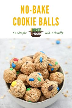 Easy No Bake Cookie Balls Snacks Recipe (Kid Friendly) | Easy Healthy Recipes & Meals for Families - These easy, healthy cookies balls are the best snacks or desserts for the entire family - including your picky eaters kids! This recipe has oatmeal, honey, peanut butter & only 3 other ingredients! Click through to learn how to make these delicious cookie energy balls! 5 Dinners 1 Hour #healthydessert #easydessert #easysnacks #healthysnacks #energyballs #nobakedesserts #nobakesnacks No Bake Snacks, Easy Snacks, Easy Healthy Recipes, Easy Desserts, Delicious Recipes, Snack Recipes, Dessert Recipes, Cooking Recipes, Yummy Food