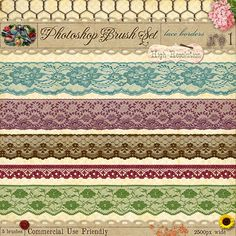 Delicate French lace border brushes for photoshop - graphic design